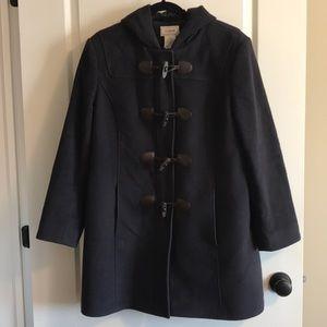 LL Bean 100% Wool Blue Zip Peacoat - Size 14-PET